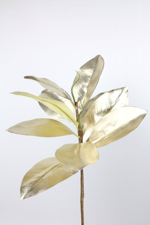 Magnolia Leaves Spray Metallic Champagne Gold 73cm