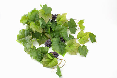 Hanging Grape Leaf Bush with Grapes 64cm