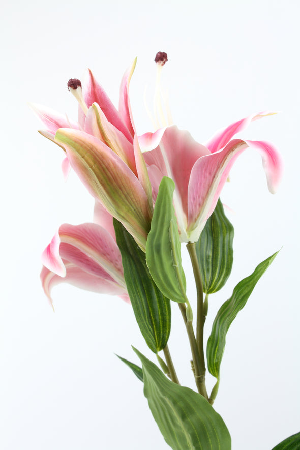 Casablanca Tiger Lily (2 heads) Real Touch Artificial Flower - Bright Pink 80cm
