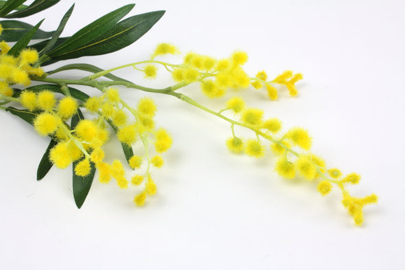 Mimosa Wattle Artificial Flower Spray - Yellow 64cm