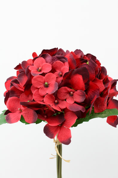 Hydrangea x3 Artificial Flower Bunch - Red 32cm