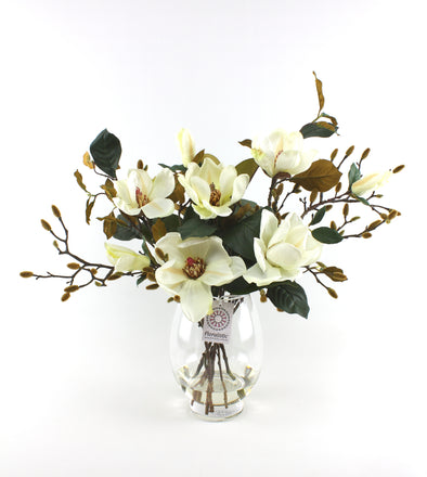 Cream White Magnolia and Buds Artificial Flower Arrangement
