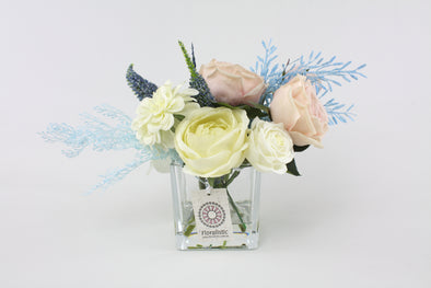 Pastel Pink and Blue Small Artificial Flower Arrangement