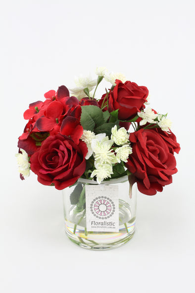 Red Rose and Hydrangea Small Artificial Flower Arrangement