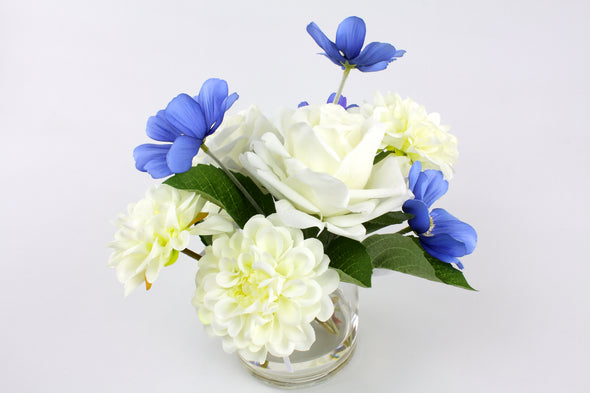 White Open Roses, Dahlia and Blue Cosmos Small Artificial Flower Arrangement