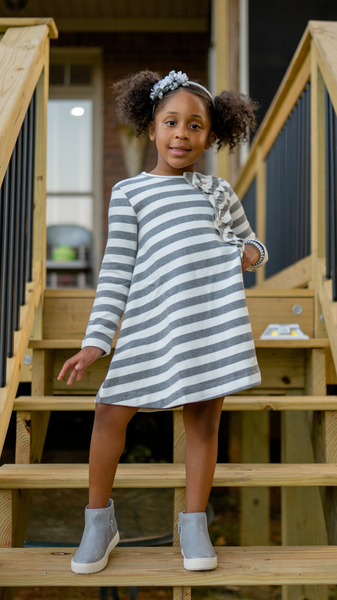 Gray Striped Dress (Mayoral Brand)