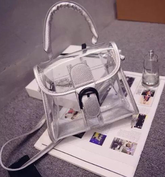 Clear Purses With Color Leather Trim