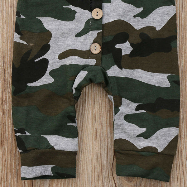 Camo Button-up Romper