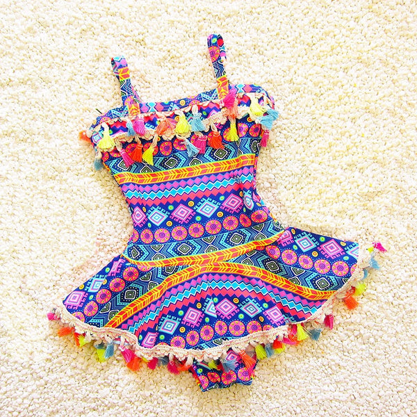 Colorful Fringed One Piece