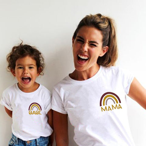 Mama and Babe Rainbow Tshirt