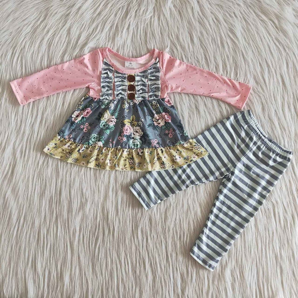 Pink Floral Stripe Set