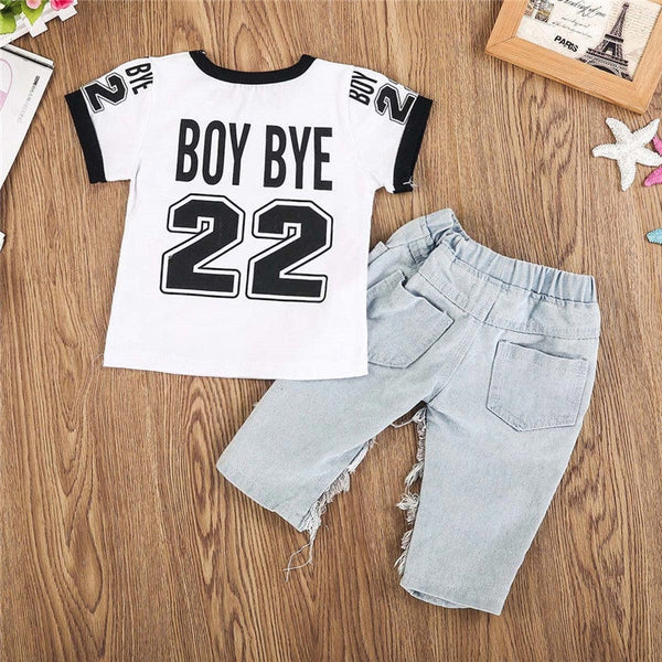 Boy Buy T-shirt  + Ripped Net Jeans