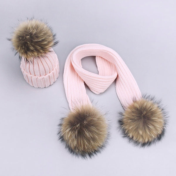 Mommy & Me Pom Pom Hat & Scarf Set