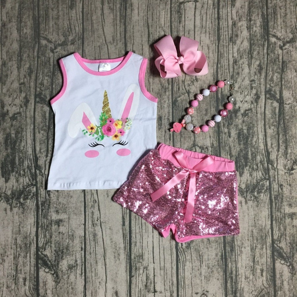 Sequin Bunny Unicorn Outfit W/Matching Accessories