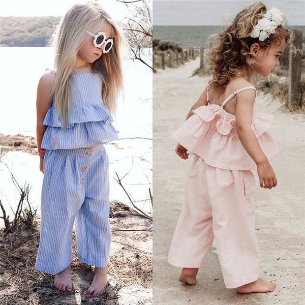 Sleeveless Strap Ruffle Top + Wide Led Pants+Headband