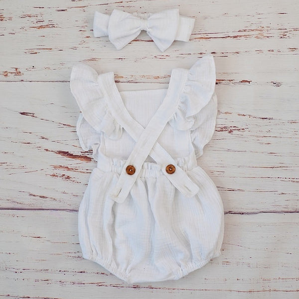 Organic Cotton Ruffled Romper