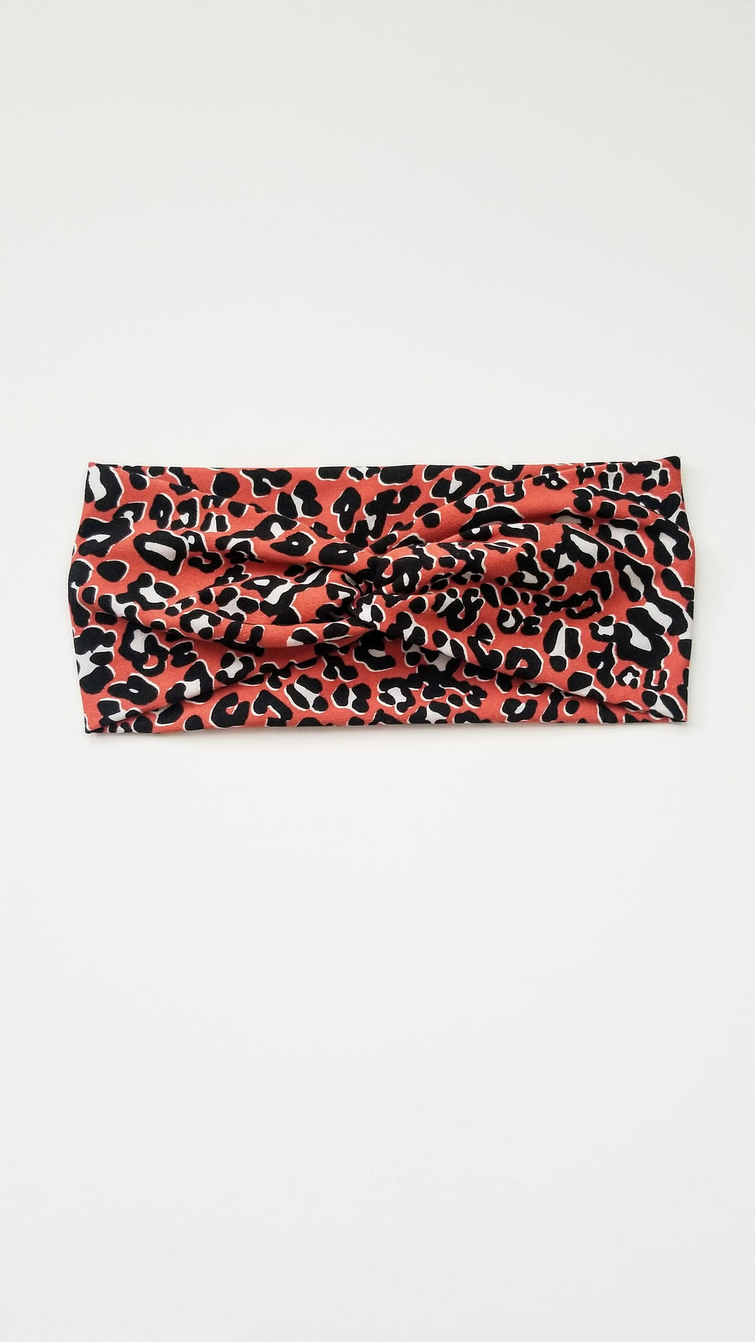 Coral Leopard Turban Headband Women