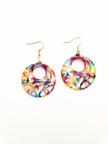 Filigree Rainbow Acrylic Earrings