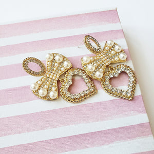 Camilla Gold Bow And Heart Earrings