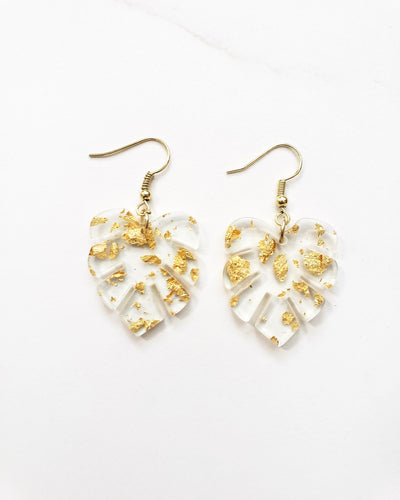 Gold Foil Monstera Earrings