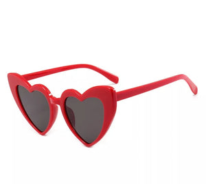 Retro Oversized Heart Shaped Sunglasses Red