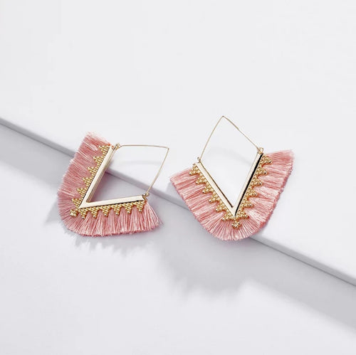 Enza Tassel Earrings - Blush Pink