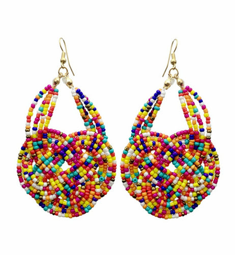 Multicolor Beaded Drop Earrings