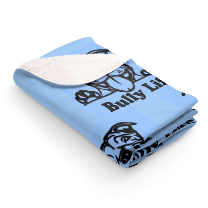 Bully Life Happy Pup Party Moma Sherpa Fleece Blanket (Blue)