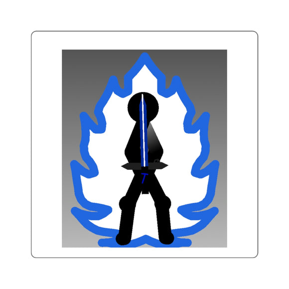 Tai Blue Flame Aura Square Stickers