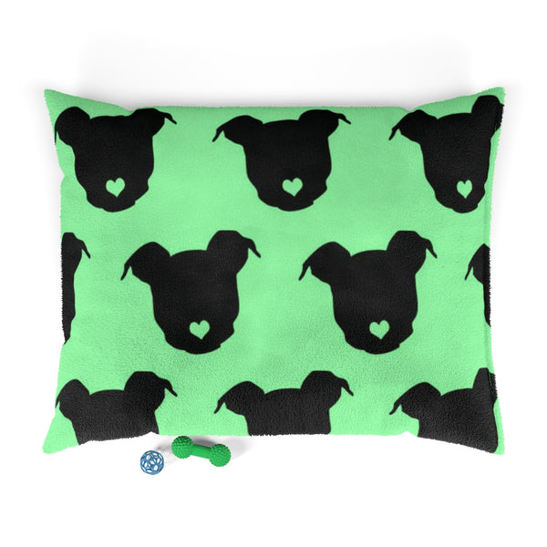 Moma's Heart Button Nose Print Pet Bed (Green)