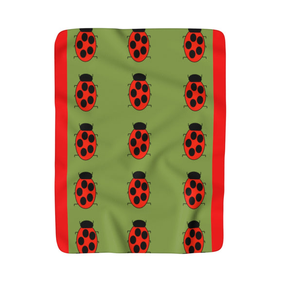 Lady Bug Party Moma Sherpa Fleece Blanket (Olive)