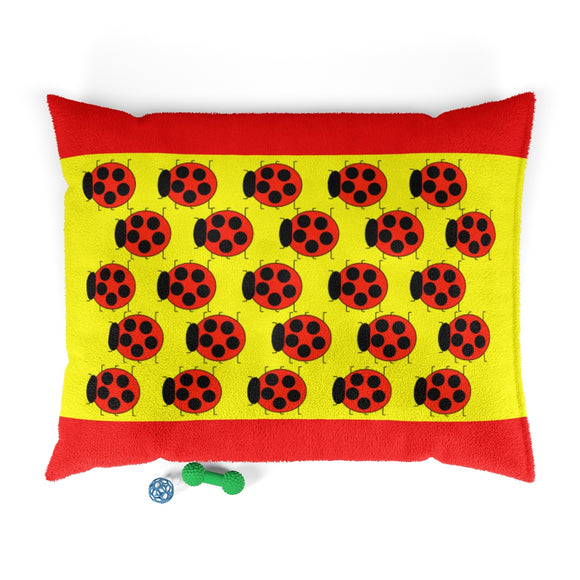 Lady Bug Pup Party Print Pet Bed (yellow/red)