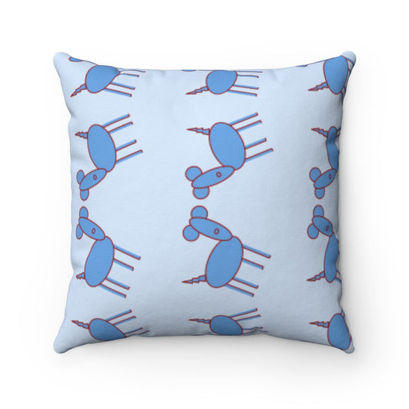 Excited Blue Pup Party Accent Square Pillow