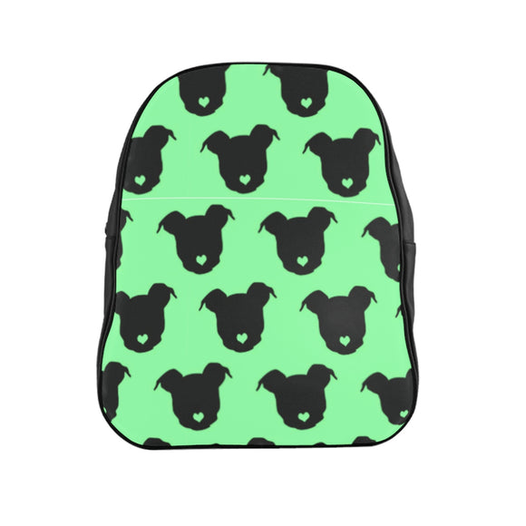 Moma's Heart Button Nose Party (Green) School Backpack