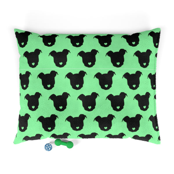 Moma's Heart Button Nose Micro Print Pet Bed (Green)