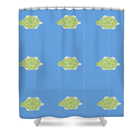 Baby Turtle Flow In Ocean - Shower Curtain