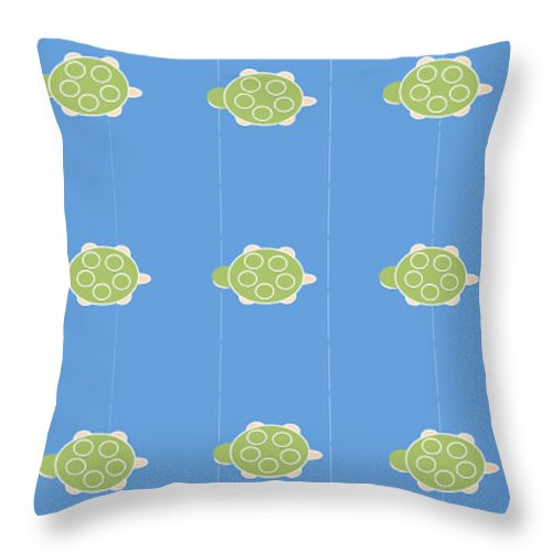 Baby Turtle Flow In Ocean - Throw Pillow