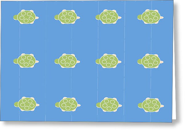 Baby Turtle Flow In Ocean - Greeting Card