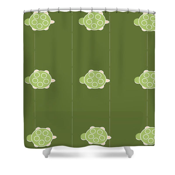 Baby Turtle Flow In Pond - Shower Curtain