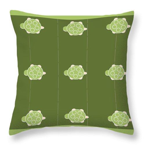 Baby Turtle Flow In Pond - Throw Pillow