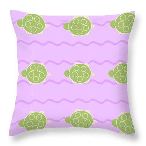 Baby Turtle Flow In Stream - Throw Pillow