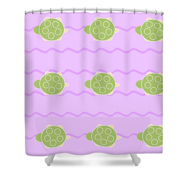 Baby Turtle Flow In Stream - Shower Curtain