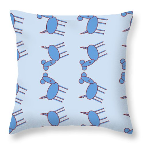 Blue Dog Walk - Throw Pillow