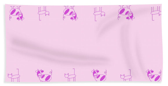 Cat Cow Pink - Bath Towel