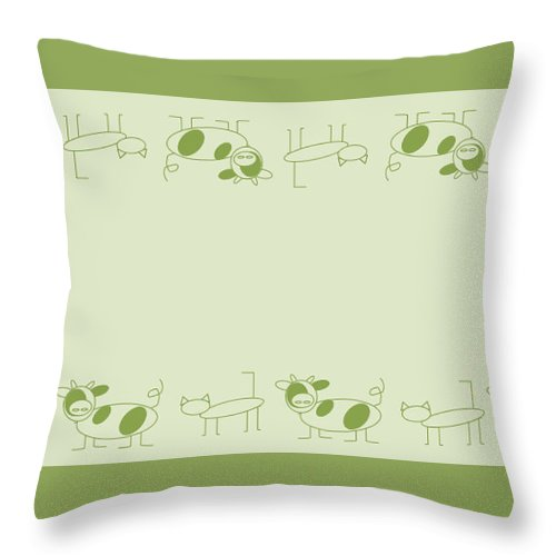 Cat Cow Sage  - Throw Pillow