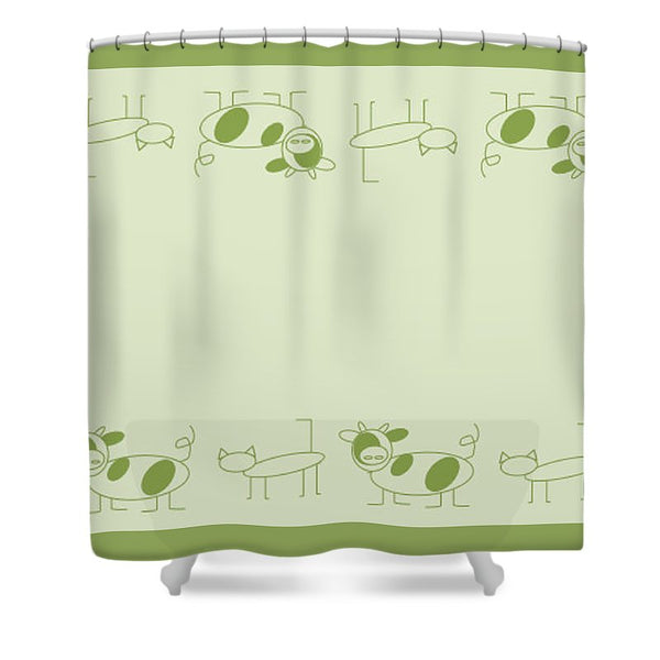 Cat Cow Sage  - Shower Curtain