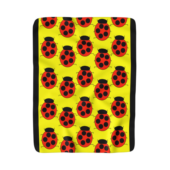 Lady Bug Party Moma Sherpa Fleece Blanket (yellow/black)