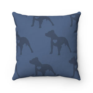 Heart Moma Pup Party Accent Square Pillow (Blueberry)
