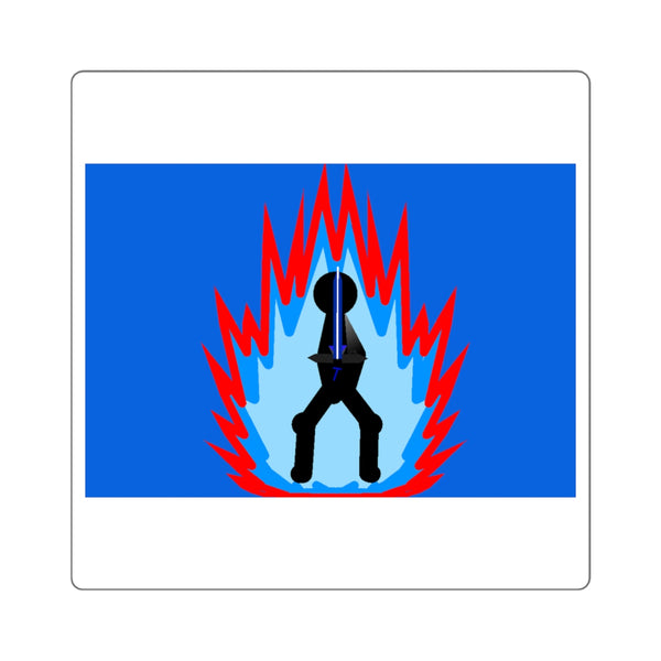 Tai Flame Aura Square Stickers (Royal Blue)