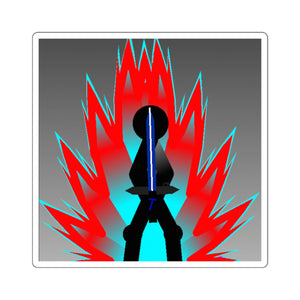 Tai Red Flame Aura Square Stickers